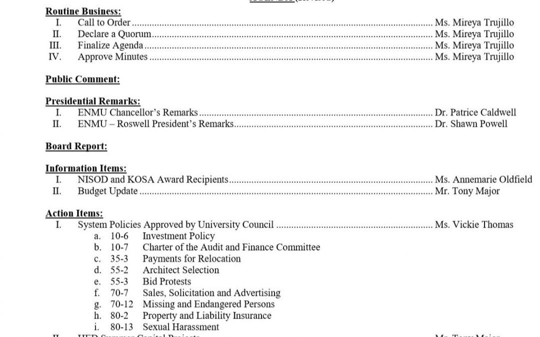 Community College Board Agenda, 6-3-2020
