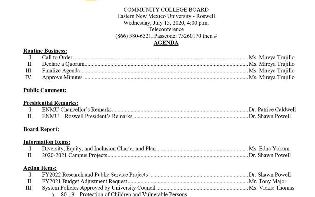 Community College Board Agenda, 7-15-2020