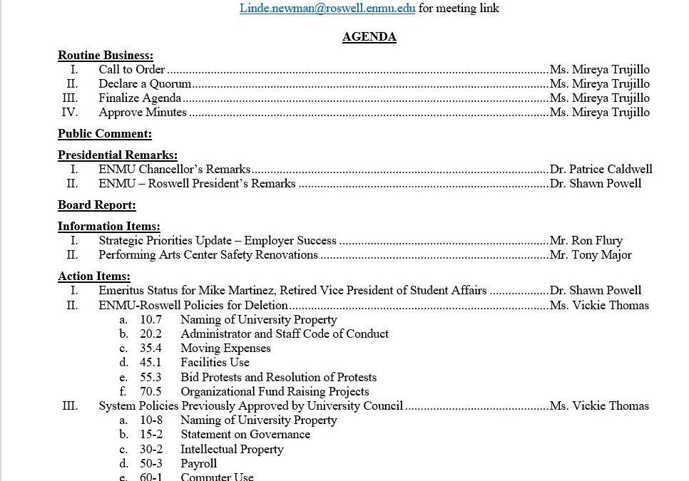 Community College Board Agenda, 10-21-2020