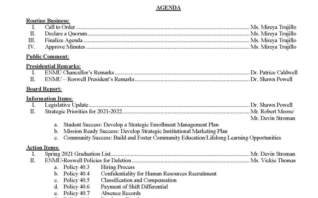 Community College Board Agenda, May 5, 2021