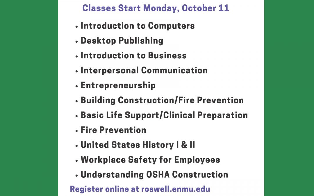 Eight-Week Classes for Fall