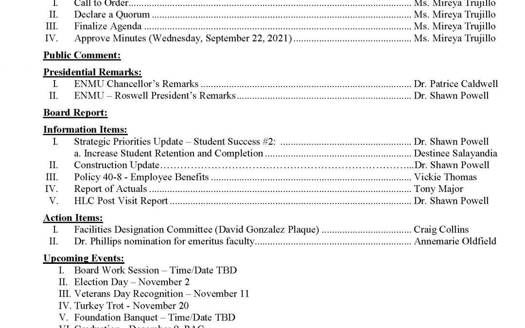 Community College Board Agenda, 10-27-2021